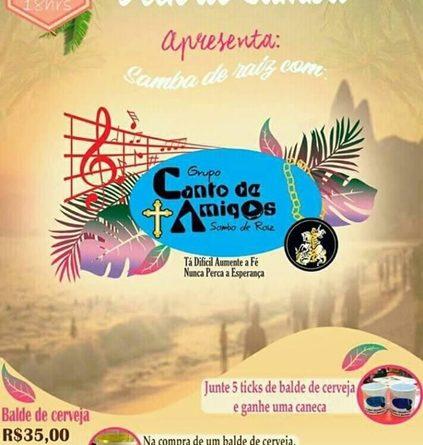 Canto de Amigos realizará roda de samba na sexta, dia 18